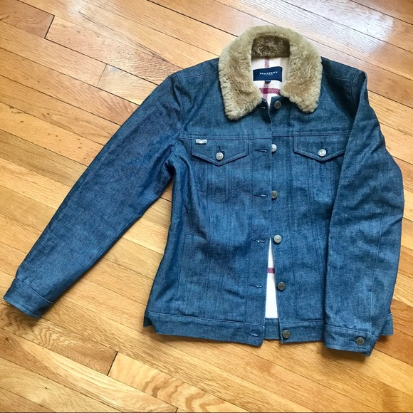 BURBERRY Denim Jacket with Shearling Collar